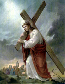 The Carrying of the heavy wooden Cross to Calvary