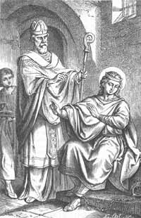 St. Hermenegild refuses communion from a heretic.