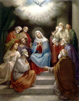 The Descent of the Holy Ghost upon Mary and the Apostles